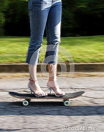 Free High Heels On Skateboard Stock Photography - 123262