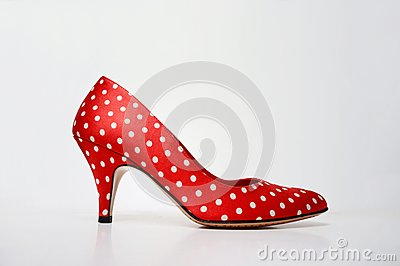 High heels: Sexy red polkadot pumps