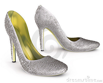 High heels shoes with diamonds