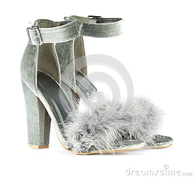 Free High Heels With Faux Fur In Gray Royalty Free Stock Photography - 107311597