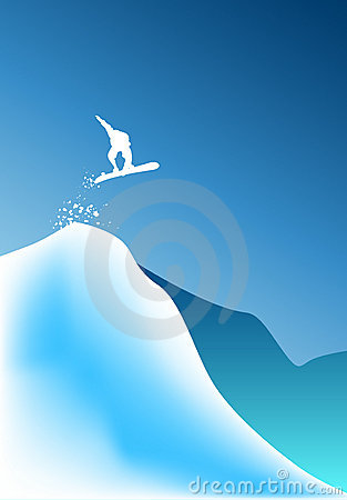High jumping snow boarder