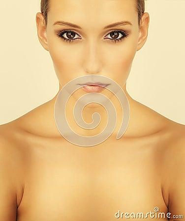 Free High Key Beautiful Brunette Girl Portrait Royalty Free Stock Photography - 22737407