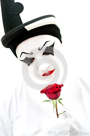 Free High Key Pierrot With Rose Stock Images - 28232834