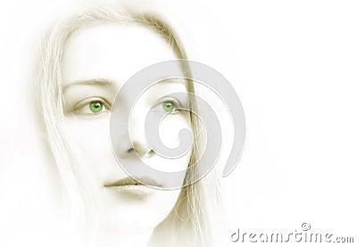 High key portrait of beautiful sensual woman
