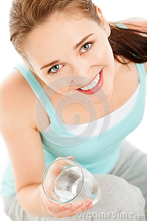 Free High Key Portrait Of Attractive Young Woman Drinking Water Isola Stock Images - 31658894