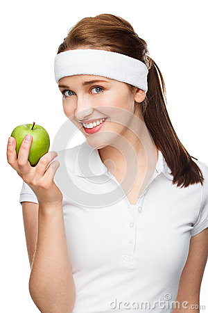 Free High Key Portrait Young Woman Holding Green Apple Isolated On Wh Stock Images - 31658734