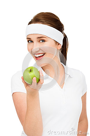 Free High Key Portrait Young Woman Holding Green Apple Isolated On Wh Royalty Free Stock Photo - 31658785