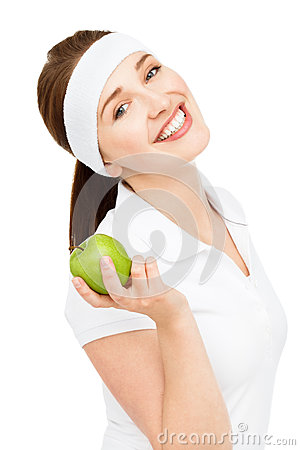 Free High Key Portrait Young Woman Holding Green Apple Isolated On Wh Stock Images - 31658814