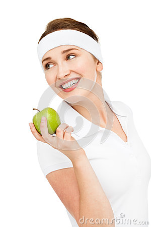 Free High Key Portrait Young Woman Holding Green Apple Isolated On Wh Royalty Free Stock Images - 31658819