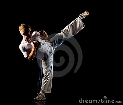High kick pose