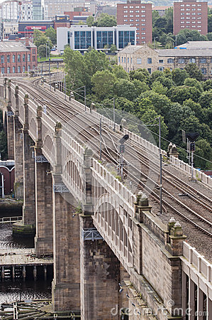 High level city train viaduct