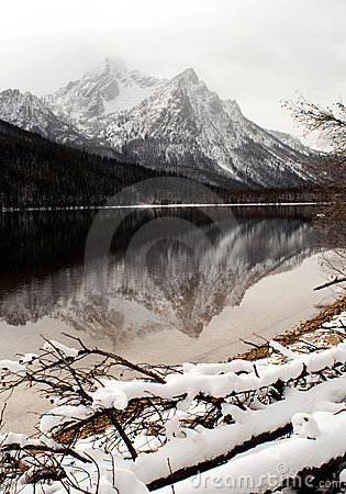 High mountain lake in winter Sawtooth Range