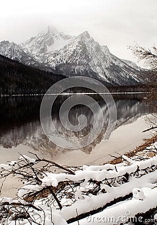 High mountain lake in winter Sawtooth Range