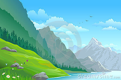 High mountain and river scenic landscape