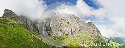 High mountain waterfall Raiskoto praskalo