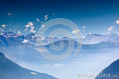 High mountains in haze