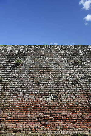 High Old brick wall blue sky background