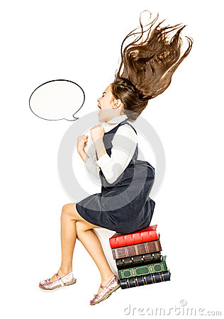 Free High Point Of View Of Little Girl Sitting On Books And Shouting Royalty Free Stock Photography - 52365937