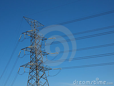 High power electricity post in blue sky