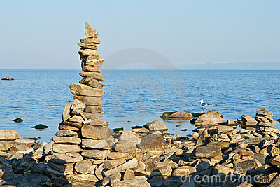 High pyramid from a stone on the bank of Baikal.