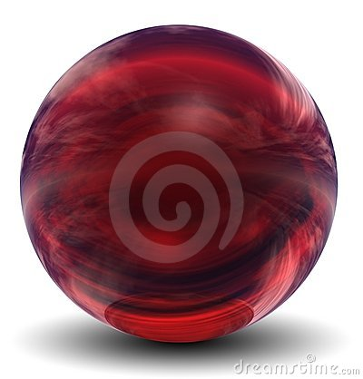 High resolution 3D red glass sphere