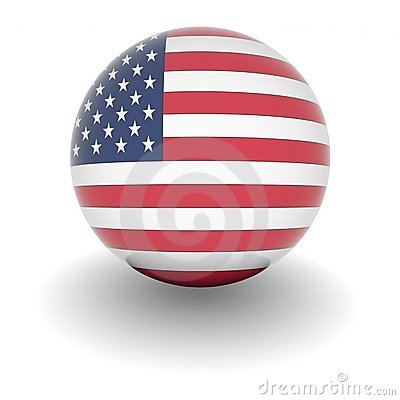 High resolution ball with flag of the USA
