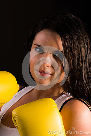 Beautiful female boxer
