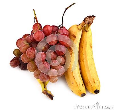 High resolution photo of dark grapes and bananas