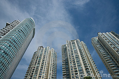 High-rise buildings with blue sky