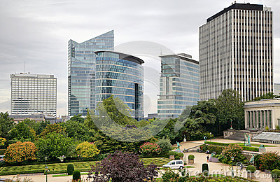 High-rise buildings on cloudy day in Brussels
