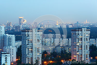 High-rise buildings at evening in Moscow