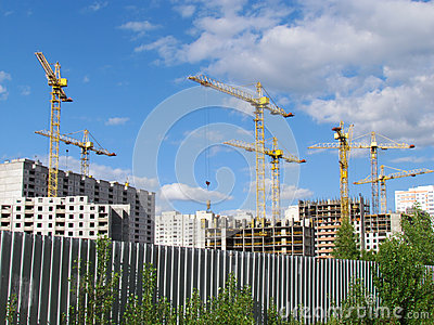 High-rise buildings under construction in progress.
