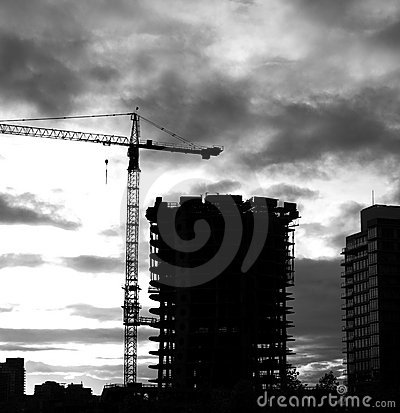 High rise construction evening