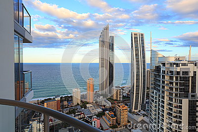 Top floor balcony with ocean view at sunrise Editorial Photography