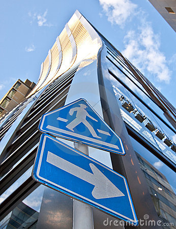Free High Rise Tower And Cross Walk Sign Royalty Free Stock Images - 9086159