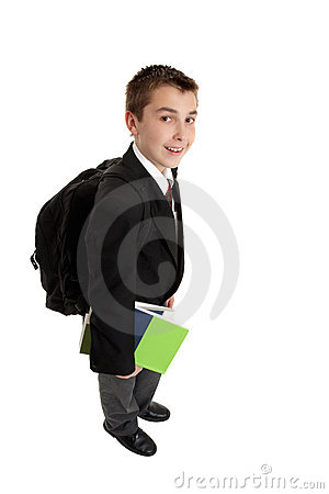 High school boy with backpack bag