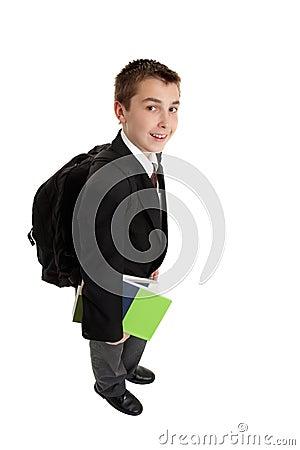 High school boy with backpack bag