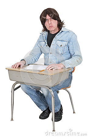 High School or College Student in School Desk, Class Isolated