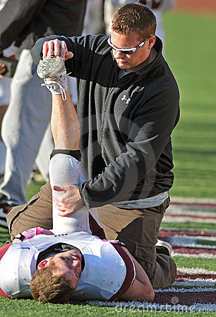 High school football - cramp Editorial Stock Photo