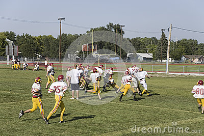 High school football team practicing Editorial Stock Photo