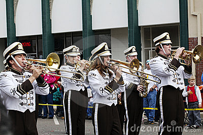 High School Marching Band Players Editorial Photography