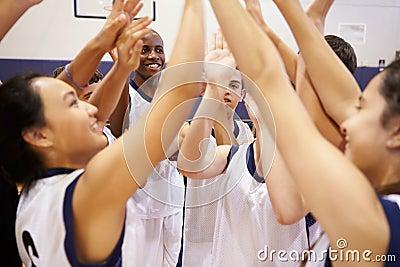High School Sports Team Celebrating In Gym