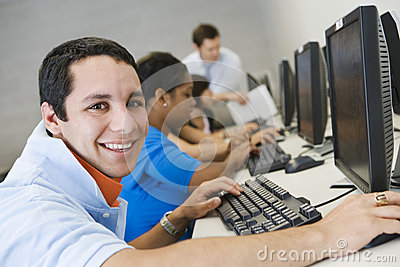High School Student In Computer Lab