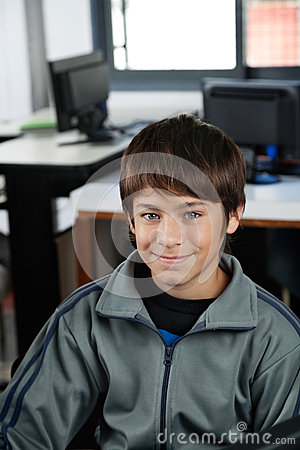 High School Student Smiling In Computer Class