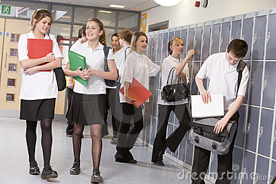 High school students by lockers