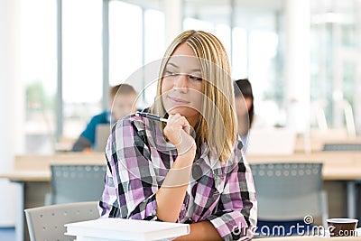 High school - Thoughtful female student