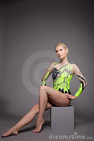 High skill gymnast dancer studio portrait