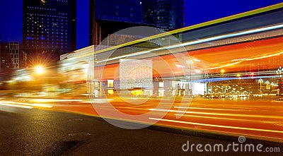 High speed and blurred bus light trails