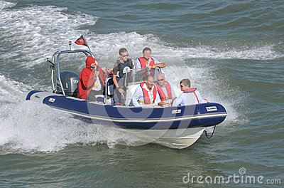 RIB inflatable boat at high speed fun Editorial Stock Image