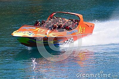 High speed jet boat ride - Queenstown NZ Editorial Stock Image